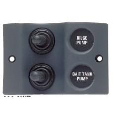 BEP Marinco Micro Series Sprayproof Switch Panel - 2 Switch - 12 Volt - Black (113280 - SUR 900-2WP)