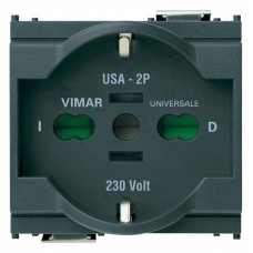 Vimar Idea - Universal GPO Power Point - 110 Volt and 240 Volt - Grey - 2 Module - Suits Rondo and Classica Cover Plates (16210)