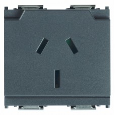 Vimar Idea - GPO Power Point - 250 Volt 10 Amp 2 Pole+E - Grey - 2 Module - Suits Rondo and Classica Cover Plates (16261)