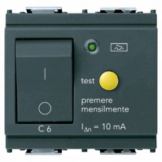 Vimar Idea - Residual Current Breaker with Overcurrent Protection - 1 Pole+N - 6A - 10mA - Grey - 2 Module (RCBO) (16511.06)