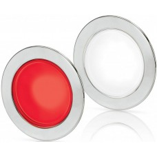 Hella EuroLED 95 Gen 2 LED Downlight - Red/White Light with Round 316 Stainless Rim and Spring Clips (2JA 958 340-101)
