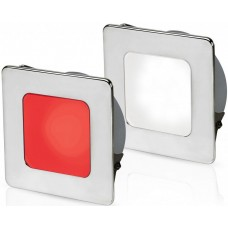 Hella EuroLED 95 Gen 2 LED Downlight - Red/White Light with Square 316 Stainless Rim and Spring Clips (2JA 958 340-601)