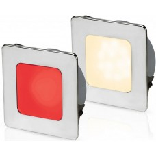 Hella EuroLED 95 Gen 2 LED Downlight - Red/Warm White Light with Square 316 Stainless Rim and Spring Clips (2JA 958 340-621)