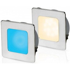 Hella EuroLED 95 Gen 2 LED Downlight - Blue/Warm White Light with Square 316 Stainless Rim and Spring Clips (2JA 958 340-631)