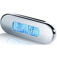 Hella Marine Oblong Blue LED Step Light - Surface Mount with Polished Stainless Rim - 12-24VDC (2XT 980 869-601)