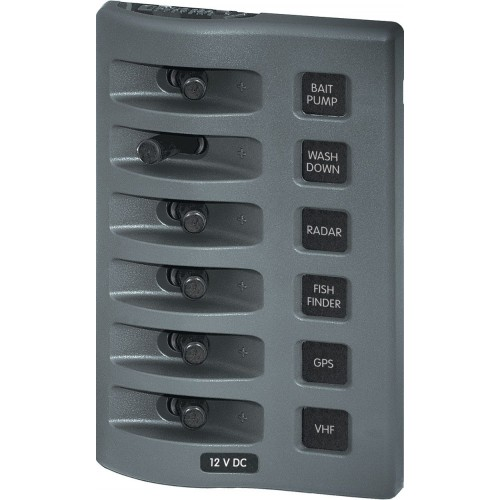Blue Sea Weatherdeck 6 Switch Waterproof Fuse Panel 12v