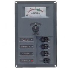 BEP Marinco Contour 4 Circuit Breaker DC Panel - Vertical with 12V Analog Voltmeter (113141 - 900-AM)