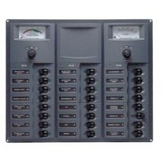 BEP Marinco Contour 24 Circuit Breaker DC Panel - Square with 12V Analog Voltmeter and Ammeter (113170 - 905-AM)