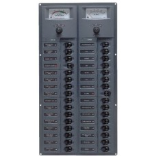 BEP Marinco Contour 32 Circuit Breaker DC Panel - Vertical with 12V Analog Voltmeter and Ammeter (113177 - 906V-AM)