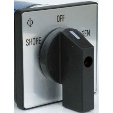 SHORE / OFF / GEN Changeover Switch - Rotary Cam Switch - 240VAC - 25A - 2 Pole - Single Phase (AUS0036)