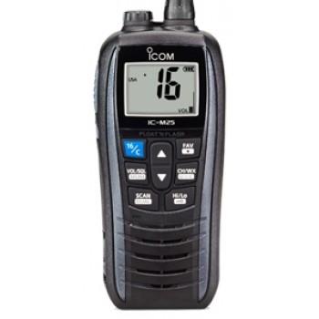 ICOM IC-M25 EURO Marine Hand Held VHF Radio - 5W Float'n Flash - Large LCD Screen - 11 Hrs Battery Life with USB Charging (IC-M25 EURO)