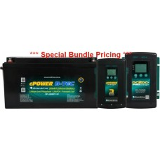 **TWO ONLY IN STOCK ON SPECIAL WHILE STOCK LASTS ** Lithium LiFePO4 ePOWER B-Tec Battery Pack 200Ah 12V - Incl. 40A DC2DC Charger and MPPT Solar Controller and 40A AC Charger (EPL-200BT+DC40+AC40)