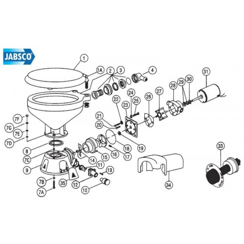 jabsco toilet motor and macerator assembly
