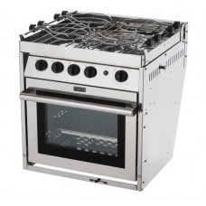 Force 10 - A41 - 4 Burner Gourmet Galley Range - Marine S/S Gimbaled Stove with Oven and Grill - Incl Pot Holders & Gimbals - Made in France (63451)