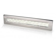 Hella Waiheke White LED Recessed Strip Light with Stainless Rim - 12V - Downlight or Cockpit Lighting (2JA 980 681-001)