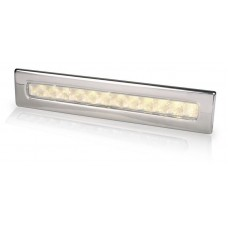 Hella Waiheke Warm White LED Recessed Strip Light with Stainless Rim - 24V - Downlight or Cockpit Lighting (2JA 980 681-601)