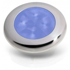 Hella Marine Round LED Courtesy Light - Blue Light with Polished Stainless Rim - 12V (2XT 980 502-221)