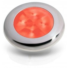 Hella Marine Red Round LED Courtesy Light with Satin Stainless Rim (2XT 980 507-301)